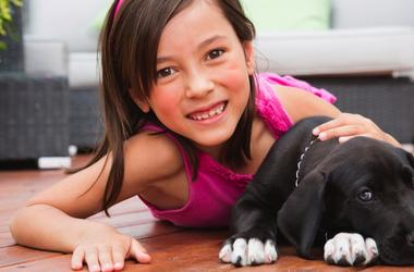 Little girl with family pet puppy