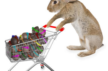 Bunny with a shopping trolley full of eggs