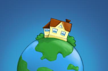 House on globe